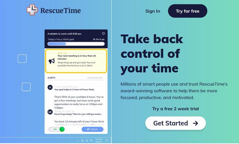 1. تطبيق Rescue Time لمراقبة نشاطك